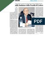 Addio a Bruno Gentili, fondatore della Facoltà di Lettere - Il Resto del Carlino del 9 gennaio 2014