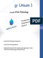Psikologi Umum 1, Kode Etik