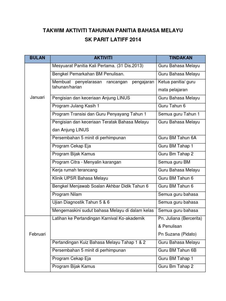Takwim Aktiviti Tahunan Panitia Bahasa Melayu 2014