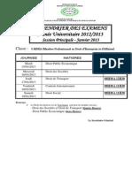 Calendrier Exam Master2013