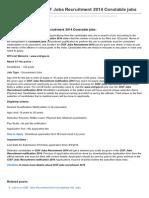 Jobsrecruitment.co.in-wwwcisfgovin CISF Jobs Recruitment 2014 Constable Jobs