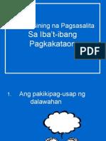 Ang Masining Na Pagsasalita Sa Iba'T-ibang Pagkakataon