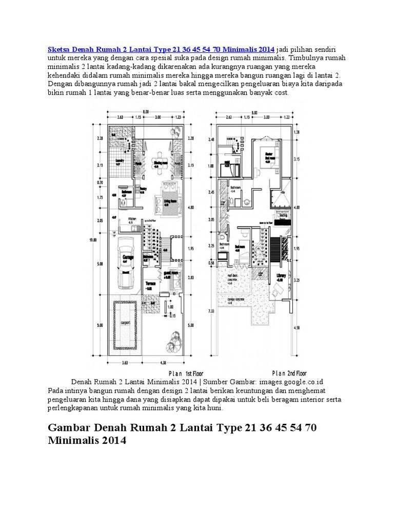 Sketsa Denah Rumah 2 Lantai Type 21 36 45 54 70 Minimalis ...
