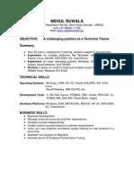 Mehul Technical Trainer Profile