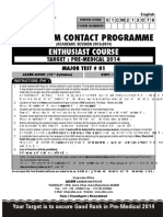 Download Major Test 1 - Classroom Contact Program (Target AIPMT 2014)