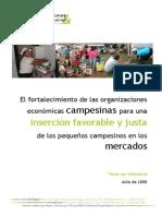 El Fortalecimiento de Las Oecas Para Una Insercion Favorable y Justa de Los Pequenos Campesinos Al Mercado