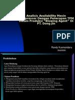 Analisis Availability Mesin Kompressor Dengan Penerapan TPM Dalam Produksi %93Blowing Agent%94 Di PT. Dong Jin