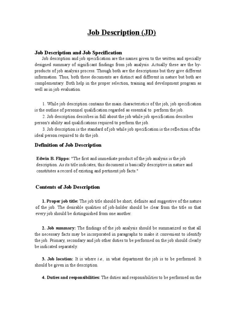 Hr Job Description &Job Specification | Employment | Specification ...