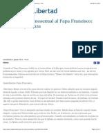 """""""Carta de un homosexual al Papa Francisco- nos das esperanza - ReL"""""""