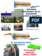 Informe Misionero Del Salvador Junio-Agosto