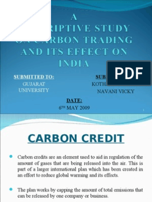 A Study On Carbon Credit Ppt Kyoto Protocol Clean Development Mechanism