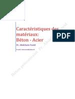 Caractéristiques des matériaux  Béton- Acier