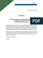 Comunicado - 10-1-14- Derrumbe en Carretera a Machu Picchu