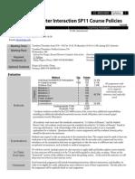Syllabus from a Human Computer Interaction Class at UGA