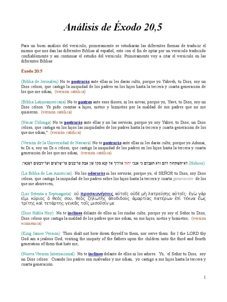 Análisis De éxodo 20 5 Tetragrammaton Jehová