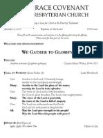 Worship Bulletin January 12, 2014