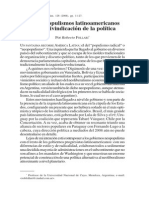 Follari, R._los Neopopulismos Latinoamericanos Como reivindicacion de la política