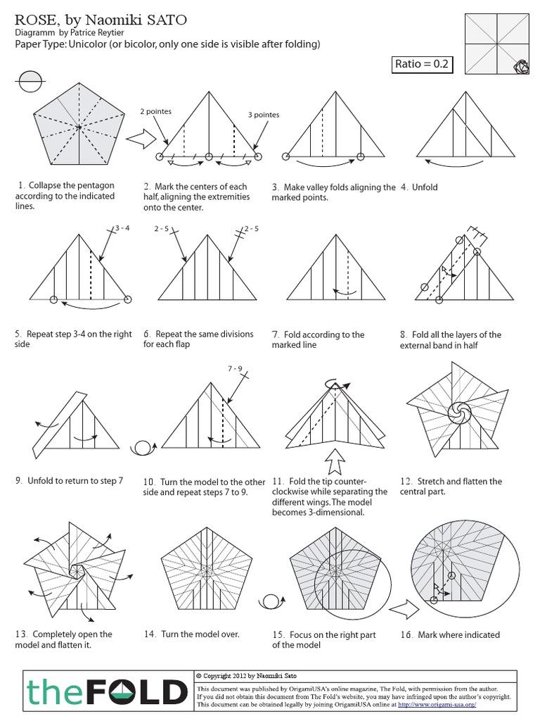 🌹 Origami Rose 🌹 - Pentagon Rose • Hoa Hồng • Pentagone Rose ... | 1024x768