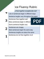 Sentence Fluency Rubric