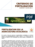 CRITERIOS DE FERTILIZACIÓN ECOLOGICA