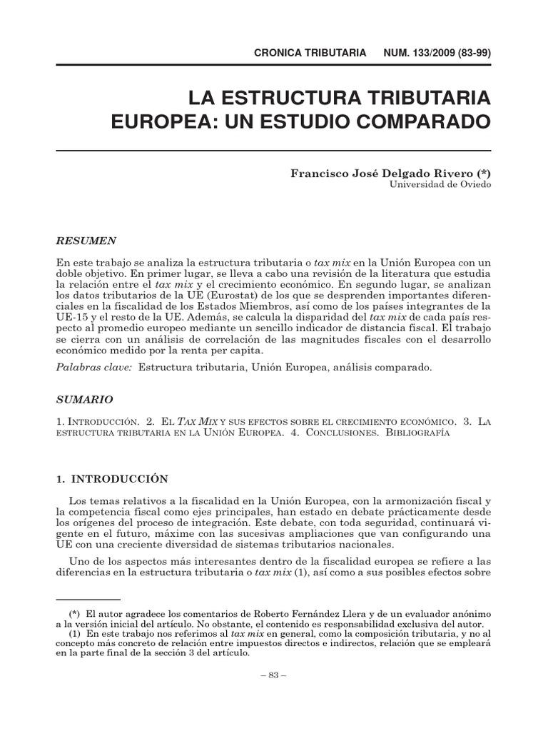 Estructura Tributaria Crecimiento Económico Unión Europea