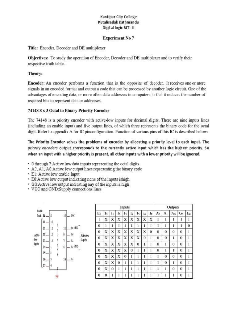 Digital Logic Lab 7 Electronics Input Output Decoder And Encoder Circuits