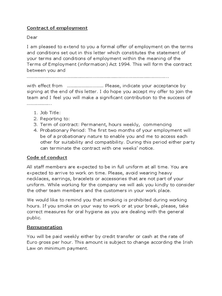 contract of employment blank working time employment