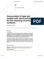 Assessment of Agar Gel Loaded With Micro-emulsion for the Cleaning of Porous Surfaces