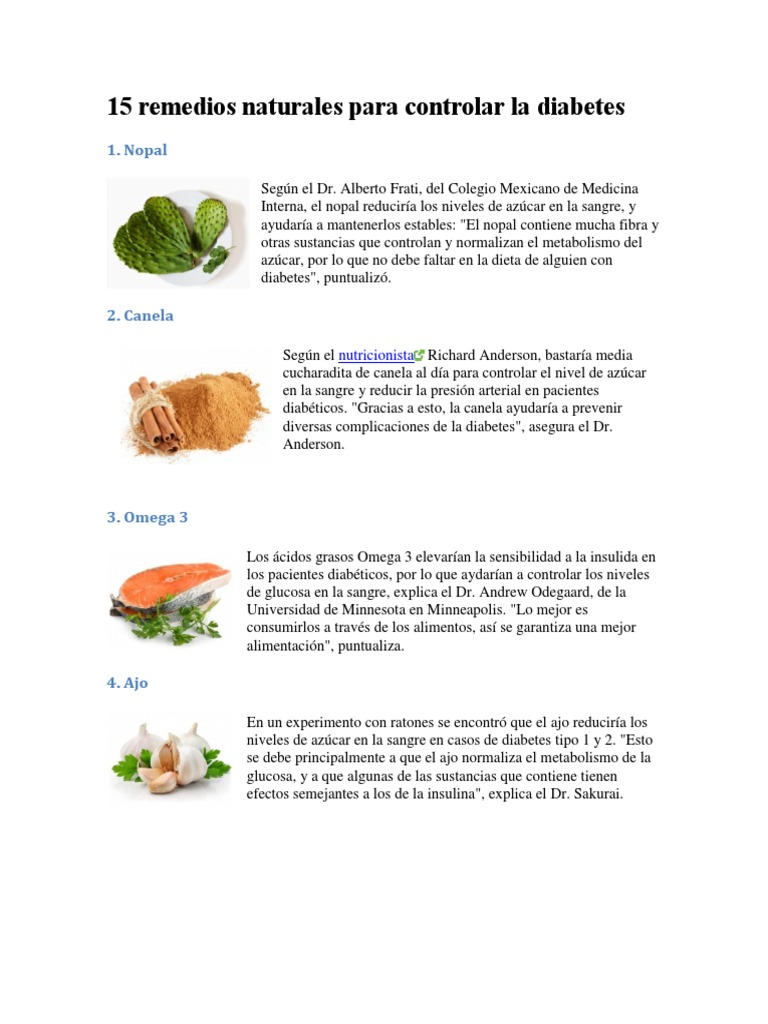 curas naturales para la diabetes mellitus