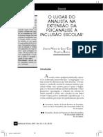 O LUGAR DO ANALISTA NA EXTENSÃO DA PSICANÁLISE À INCLUSÃO ESCOLAR