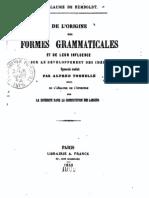 Humboldt - De l'Origine Des Formes Gramaticales