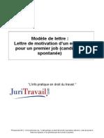Lettre Motivation Dun Employe Pour Premier Job Candidature Spontanee