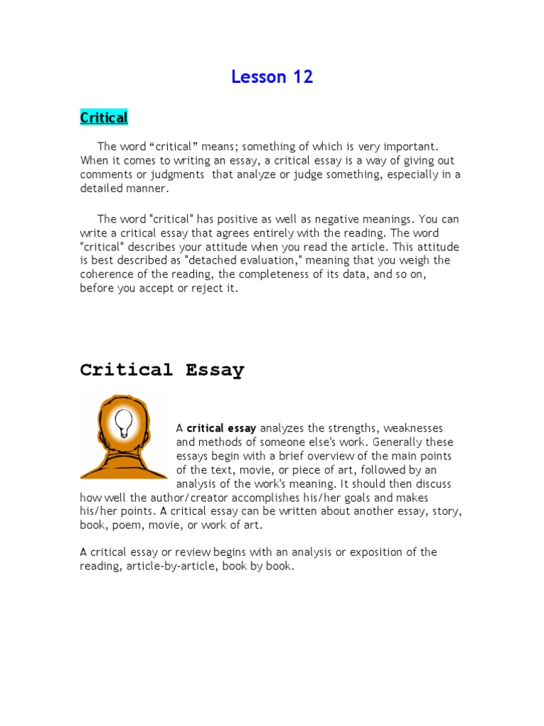 how to write a critical essay about an article A critical analysis critical summary the essay can pose some difficulties for modern readers, who may not be familiar.