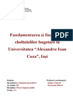 """Fundamentarea şi finanţarea cheltuielilor bugetare la Universitatea """"Alexandru Ioan Cuza"""", Iaşi"""