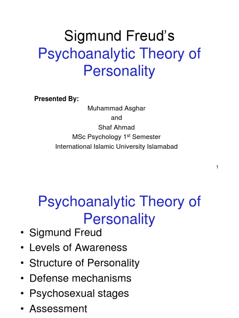 Psychoanalytic psychosexual stage theory of personality