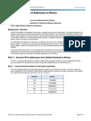 8 1 2 8 Lab - Converting IPv4 Addresses to Binary   Ip