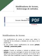 Modificadores de acceso y Sobrecarga de Métodos