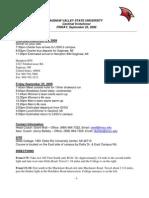 LSSU Itinerary for SVSU Pre-gliac Meet 9-25-2009