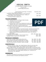 Abigail Smith Instructional Design & Technology Résumé