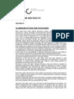 Health Fact Sheet 6 Aluminium Infood Packaging