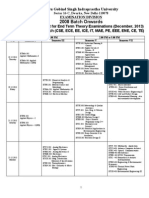 Proposed b.tech. (All Branches) Date Sheet-December 2013