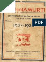 1937-1938 Conferencias Pronunciadas en los Años
