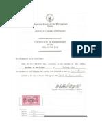 Certificate of Membership in the Philippine Bar