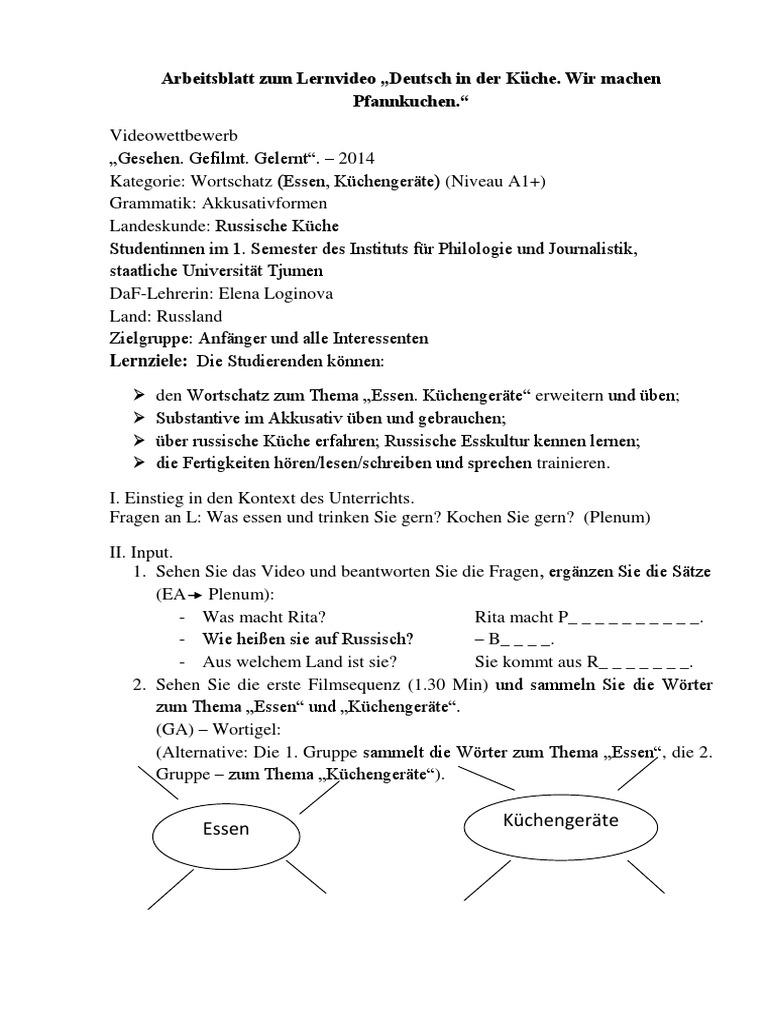 Arbeitsblatt: Deutsch in der Küche