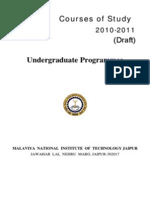 MNIT B tech Syllabus   Undergraduate Education   Course Credit