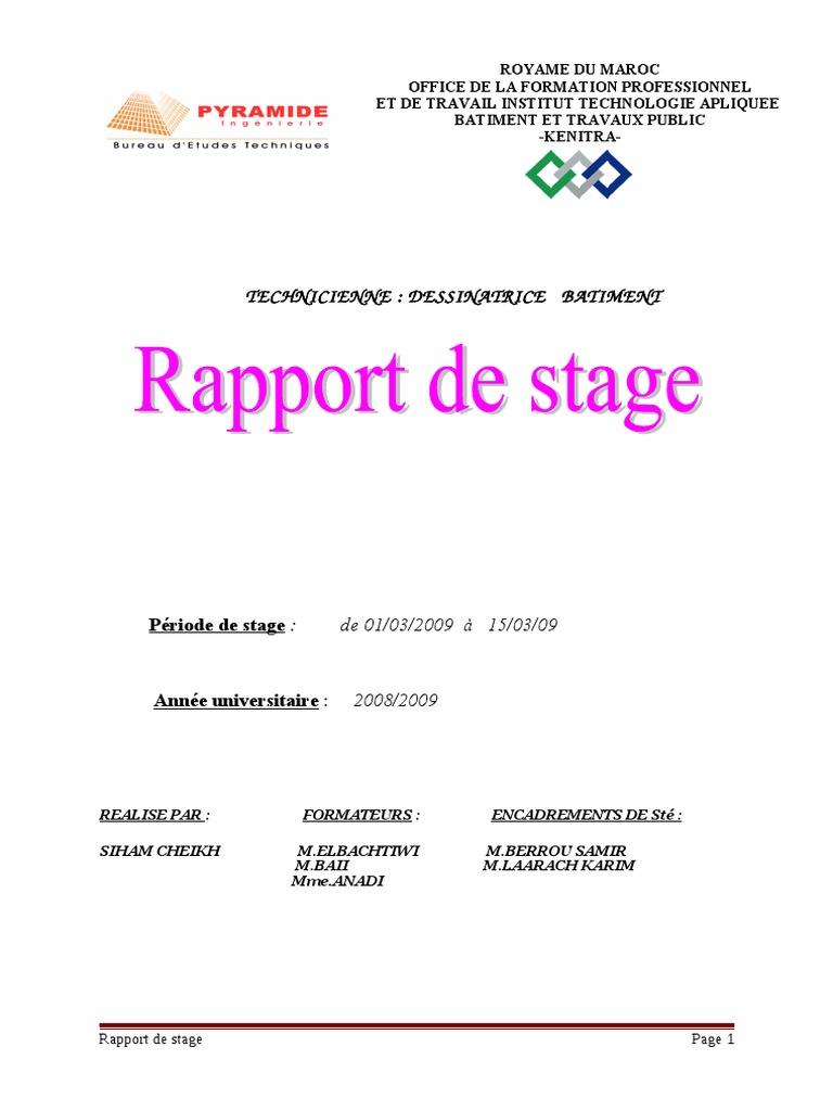 Rapport de Stage Sur Bureau d'Etude Technique-www ...