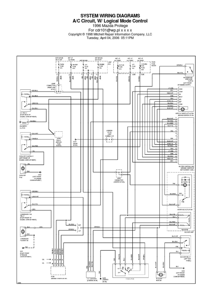 [SCHEMATICS_48ZD]  Mazda Protege 1996 | Product Introductions | Private Transport | Mazda Protege 1996 Wiring Diagram |  | Scribd
