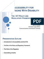 Policy and Regulatory Framework for Pwds in Kenya