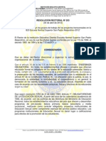 RESOLUCION 012 PROYECTOS TRANSVERSALES
