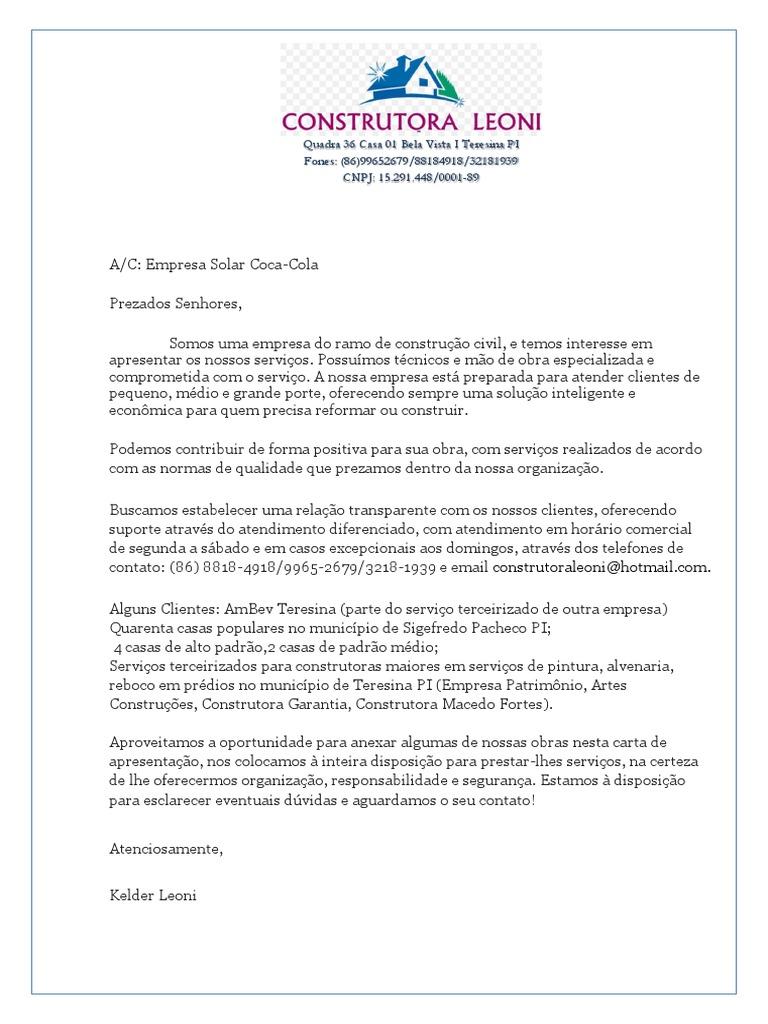 Carta de apresentacao de empresa para empresa pronta